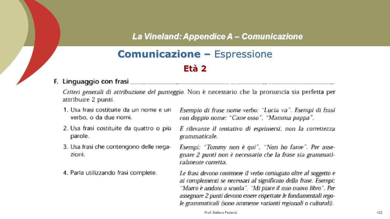 La Vineland: Appendice A – Comunicazione Comunicazione – Espressione Età 0-2 Prof. Stefano Federici101