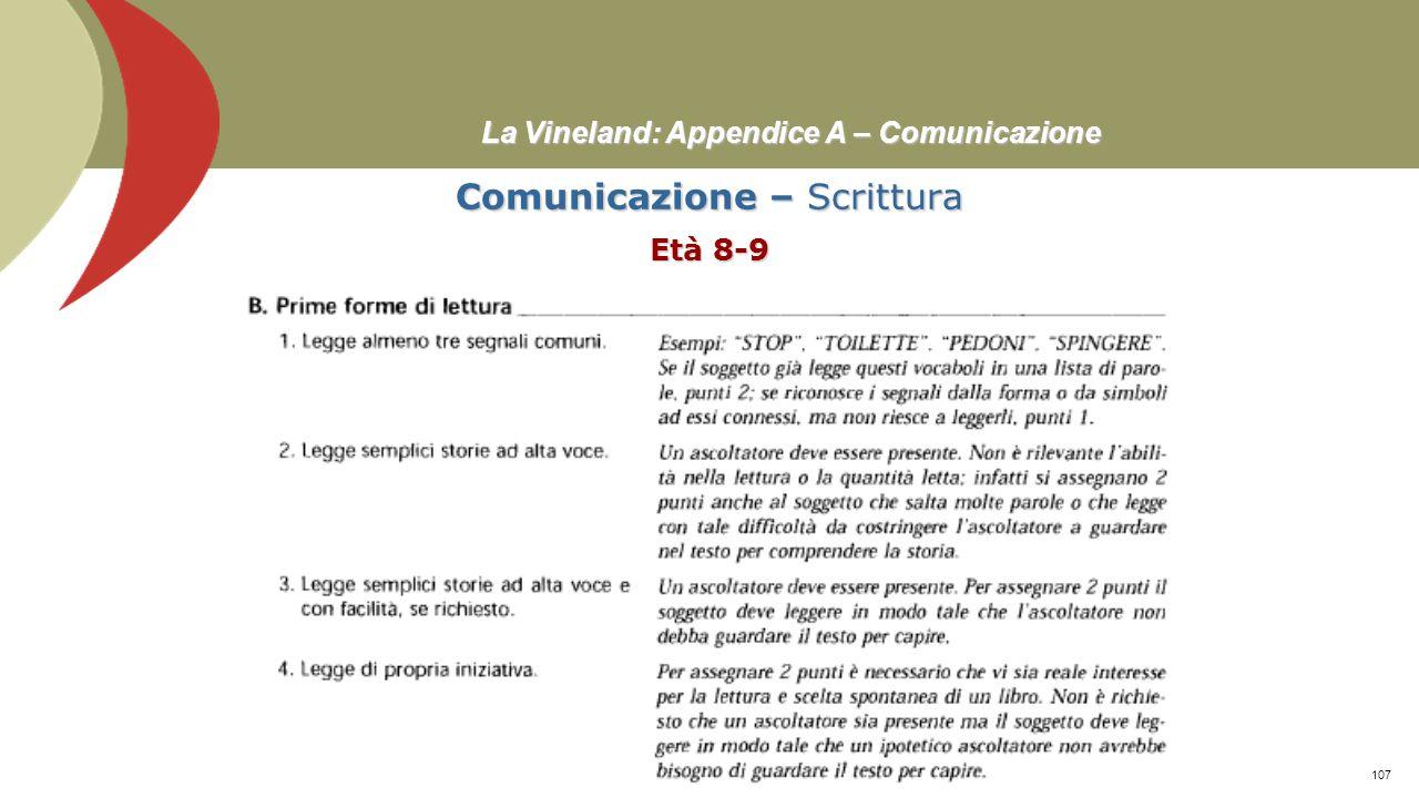 La Vineland: Appendice A – Comunicazione Comunicazione – Espressione Età 6-18≥ Prof. Stefano Federici106