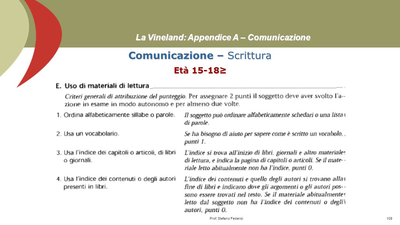 La Vineland: Appendice A – Comunicazione Comunicazione – Scrittura Età 10-14 Prof. Stefano Federici108
