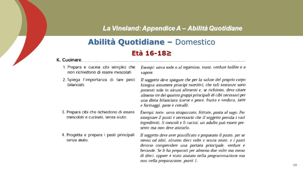 La Vineland: Appendice A – Abilità Quotidiane Abilità Quotidiane – Domestico Età 16-18≥ Prof. Stefano Federici119