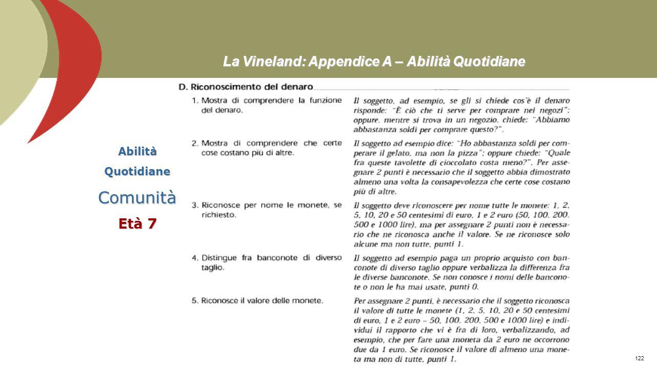 La Vineland: Appendice A – Abilità Quotidiane AbilitàQuotidianeComunità Età 6 Prof. Stefano Federici121