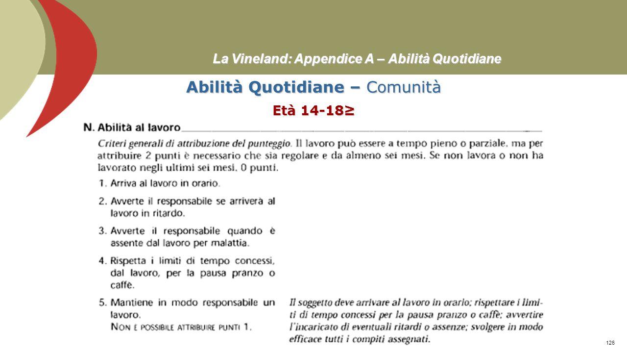 La Vineland: Appendice A – Abilità Quotidiane Abilità Quotidiane – Comunità Età 14-18≥ Prof. Stefano Federici125