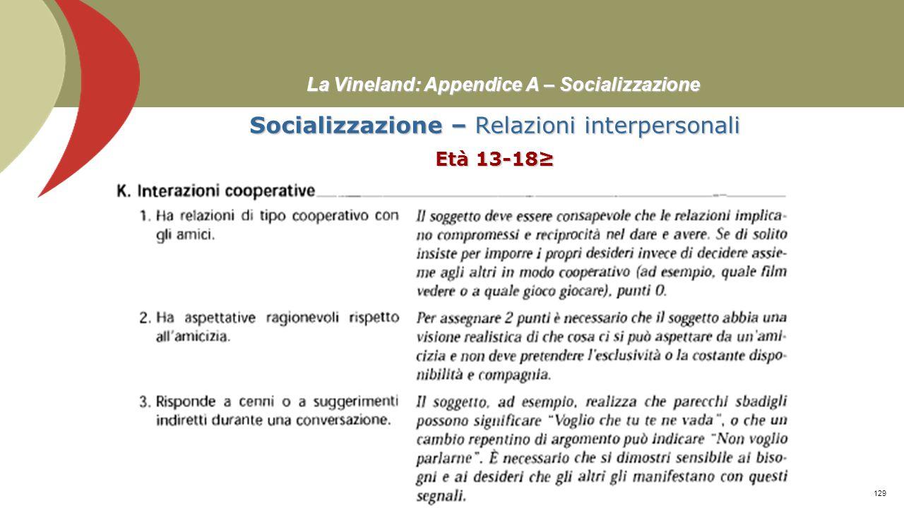 La Vineland: Appendice A – Socializzazione Socializzazione – Relazioni interpersonali Età 7-10 Prof. Stefano Federici128