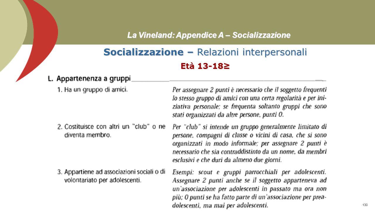 La Vineland: Appendice A – Socializzazione Socializzazione – Relazioni interpersonali Età 13-18≥ Prof. Stefano Federici129