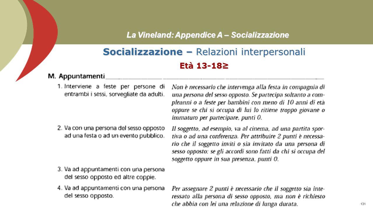 La Vineland: Appendice A – Socializzazione Socializzazione – Relazioni interpersonali Età 13-18≥ Prof. Stefano Federici130