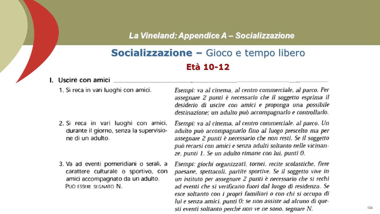 La Vineland: Appendice A – Socializzazione Socializzazione – Gioco e tempo libero Età 10-12 Prof. Stefano Federici133