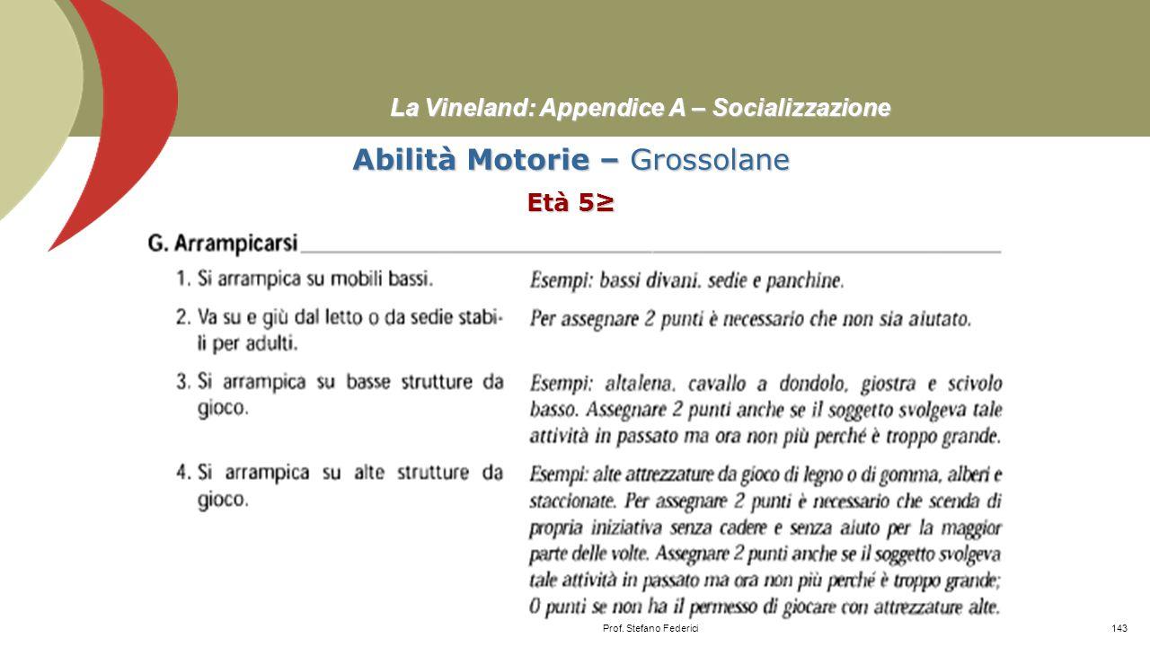 La Vineland: Appendice A – Socializzazione Socializzazione – Regole sociali Età 11-12 Prof. Stefano Federici142
