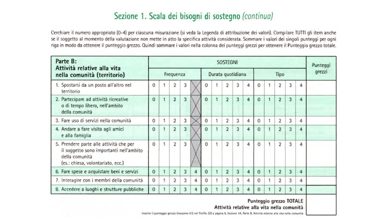 65 La Scala dei bisogni di sostegno comprende 49 attività di vita raggruppate in 6 subscale di sostegno: (A) vita nell'ambiente domestico, (B) vita ne