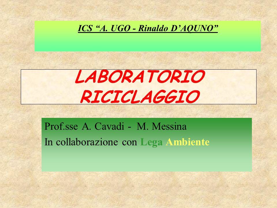 """LABORATORIO RICICLAGGIO Prof.sse A. Cavadi - M. Messina In collaborazione con Lega Ambiente ICS """"A. UGO - Rinaldo D'AQUNO"""""""