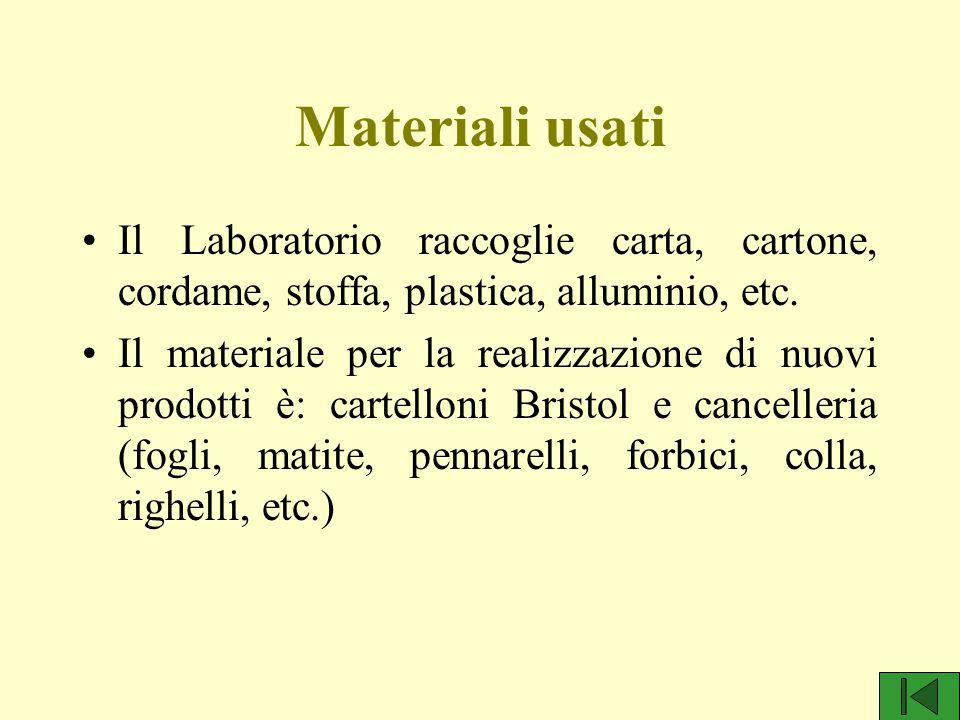 Materiali usati Il Laboratorio raccoglie carta, cartone, cordame, stoffa, plastica, alluminio, etc. Il materiale per la realizzazione di nuovi prodott