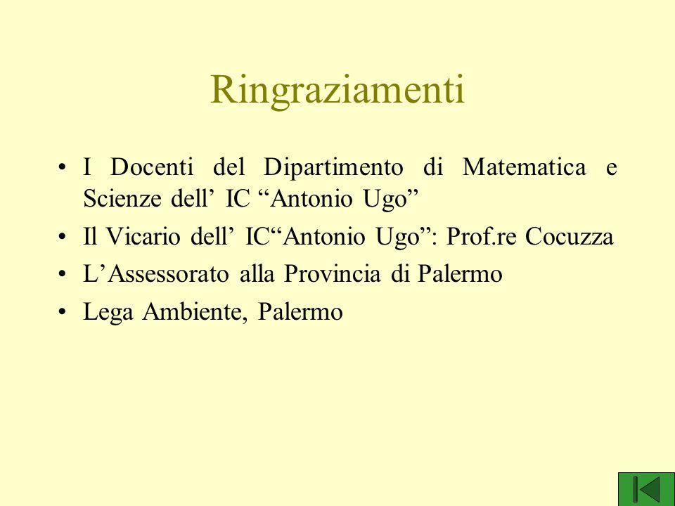"""Ringraziamenti I Docenti del Dipartimento di Matematica e Scienze dell' IC """"Antonio Ugo"""" Il Vicario dell' IC""""Antonio Ugo"""": Prof.re Cocuzza L'Assessora"""