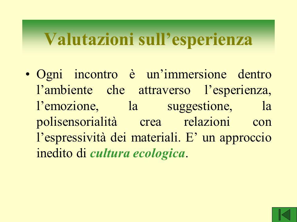 Valutazioni sull'esperienza Ogni incontro è un'immersione dentro l'ambiente che attraverso l'esperienza, l'emozione, la suggestione, la polisensoriali