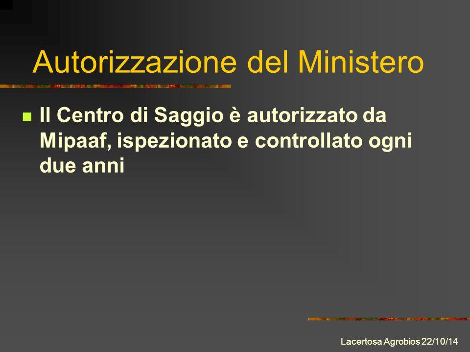 Il Centro di Saggio è autorizzato da Mipaaf, ispezionato e controllato ogni due anni Autorizzazione del Ministero Lacertosa Agrobios 22/10/14