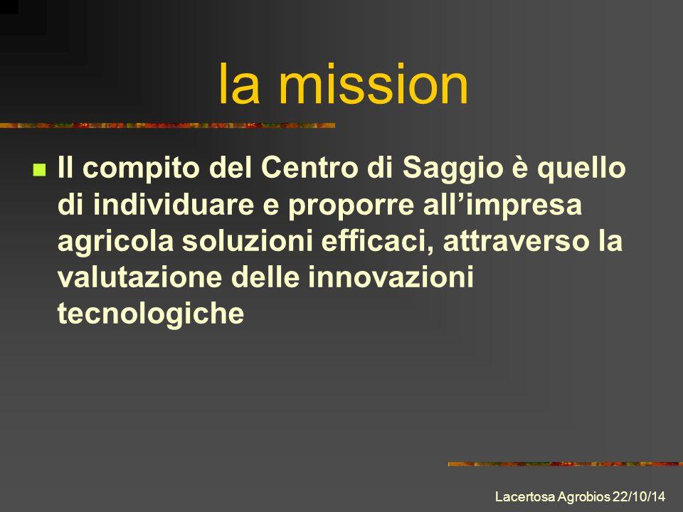 Il compito del Centro di Saggio è quello di individuare e proporre all'impresa agricola soluzioni efficaci, attraverso la valutazione delle innovazioni tecnologiche la mission Lacertosa Agrobios 22/10/14