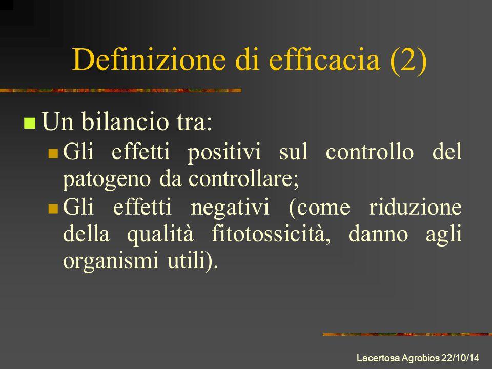 Lacertosa Agrobios 22/10/14 Definizione di efficacia (2) Un bilancio tra: Gli effetti positivi sul controllo del patogeno da controllare; Gli effetti negativi (come riduzione della qualità fitotossicità, danno agli organismi utili).
