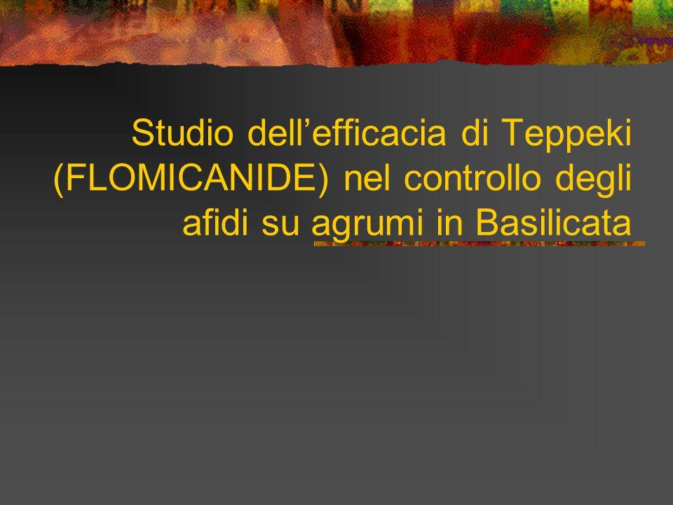 Studio dell'efficacia di Teppeki (FLOMICANIDE) nel controllo degli afidi su agrumi in Basilicata
