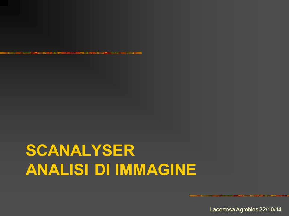 SCANALYSER ANALISI DI IMMAGINE Lacertosa Agrobios 22/10/14