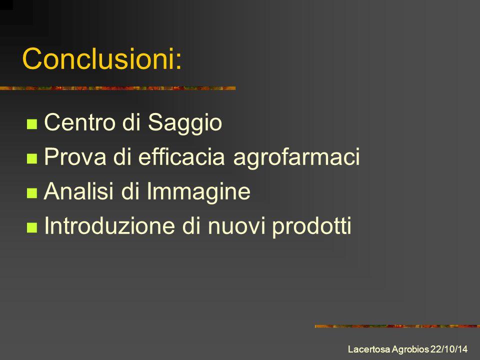 Conclusioni: Centro di Saggio Prova di efficacia agrofarmaci Analisi di Immagine Introduzione di nuovi prodotti Lacertosa Agrobios 22/10/14