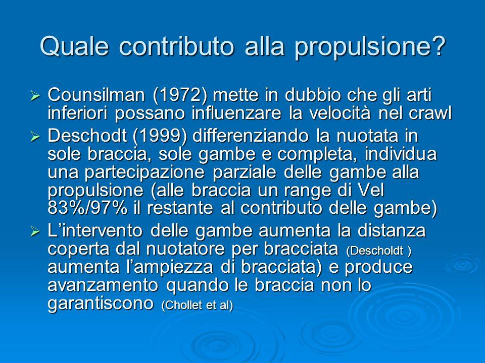 Quale contributo alla propulsione?  Counsilman (1972) mette in dubbio che gli arti inferiori possano influenzare la velocità nel crawl  Deschodt (19