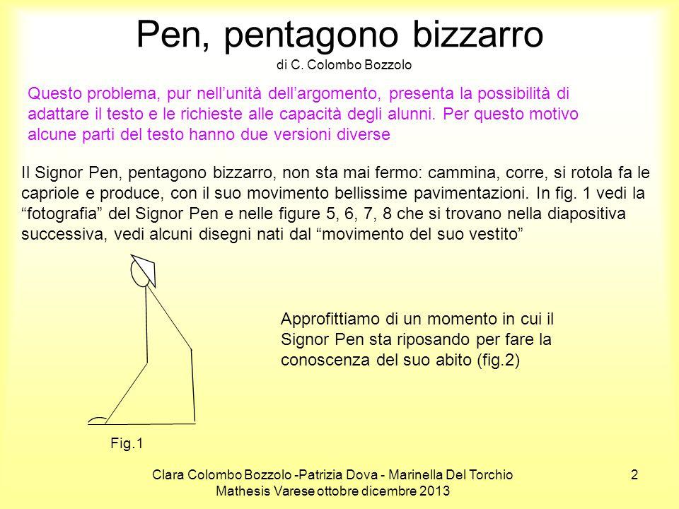 Clara Colombo Bozzolo -Patrizia Dova - Marinella Del Torchio Mathesis Varese ottobre dicembre 2013 13 Il Signor Pen, pentagono bizzarro Ora sei in grado di calcolare l'area del pentagono ABCDE, usando le formule che conosci per il calcolo dell'area del triangolo e quella del rombo.