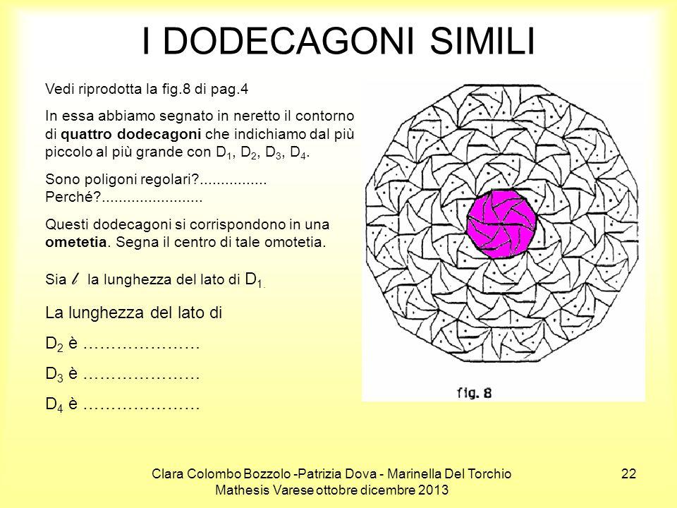 Clara Colombo Bozzolo -Patrizia Dova - Marinella Del Torchio Mathesis Varese ottobre dicembre 2013 22 I DODECAGONI SIMILI Vedi riprodotta la fig.8 di