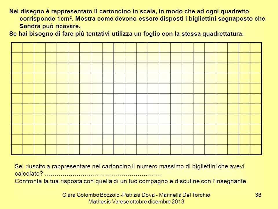 Clara Colombo Bozzolo -Patrizia Dova - Marinella Del Torchio Mathesis Varese ottobre dicembre 2013 38 Nel disegno è rappresentato il cartoncino in sca