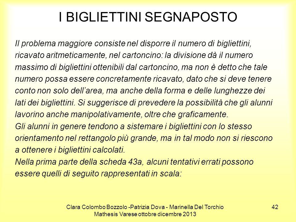 Clara Colombo Bozzolo -Patrizia Dova - Marinella Del Torchio Mathesis Varese ottobre dicembre 2013 42 I BIGLIETTINI SEGNAPOSTO Il problema maggiore co