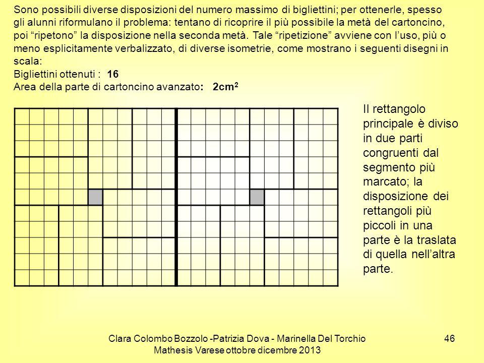 Clara Colombo Bozzolo -Patrizia Dova - Marinella Del Torchio Mathesis Varese ottobre dicembre 2013 46 Sono possibili diverse disposizioni del numero m