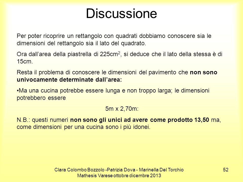 Clara Colombo Bozzolo -Patrizia Dova - Marinella Del Torchio Mathesis Varese ottobre dicembre 2013 52 Discussione Per poter ricoprire un rettangolo co