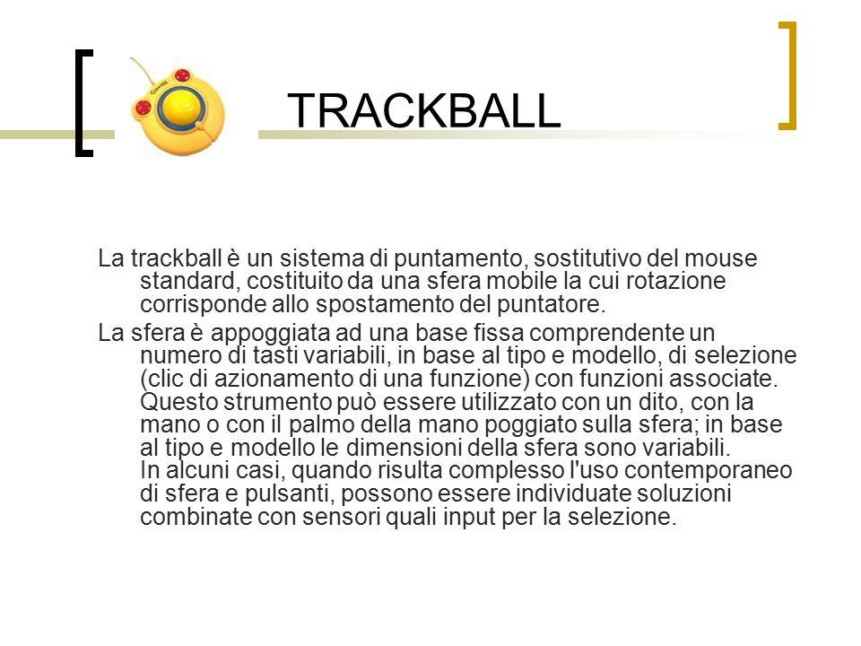 TRACKBALL La trackball è un sistema di puntamento, sostitutivo del mouse standard, costituito da una sfera mobile la cui rotazione corrisponde allo spostamento del puntatore.