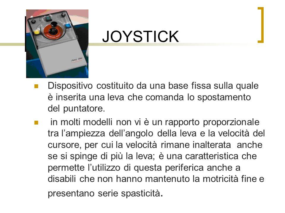 JOYSTICK Dispositivo costituito da una base fissa sulla quale è inserita una leva che comanda lo spostamento del puntatore.
