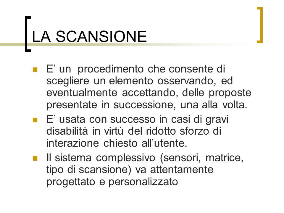 LA SCANSIONE E' un procedimento che consente di scegliere un elemento osservando, ed eventualmente accettando, delle proposte presentate in successione, una alla volta.