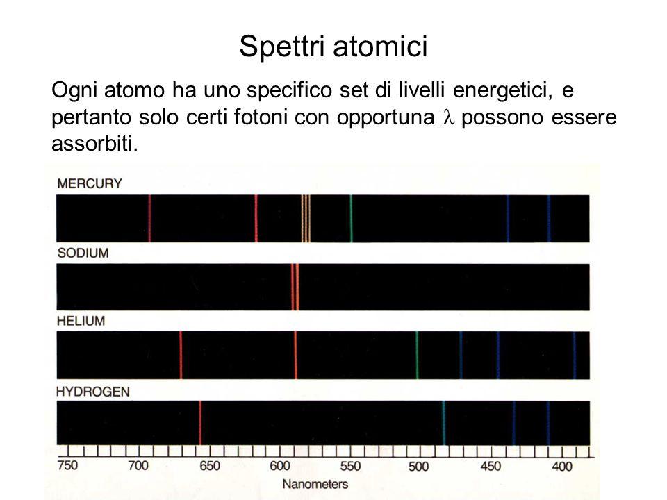 Spettri atomici Ogni atomo ha uno specifico set di livelli energetici, e pertanto solo certi fotoni con opportuna possono essere assorbiti.