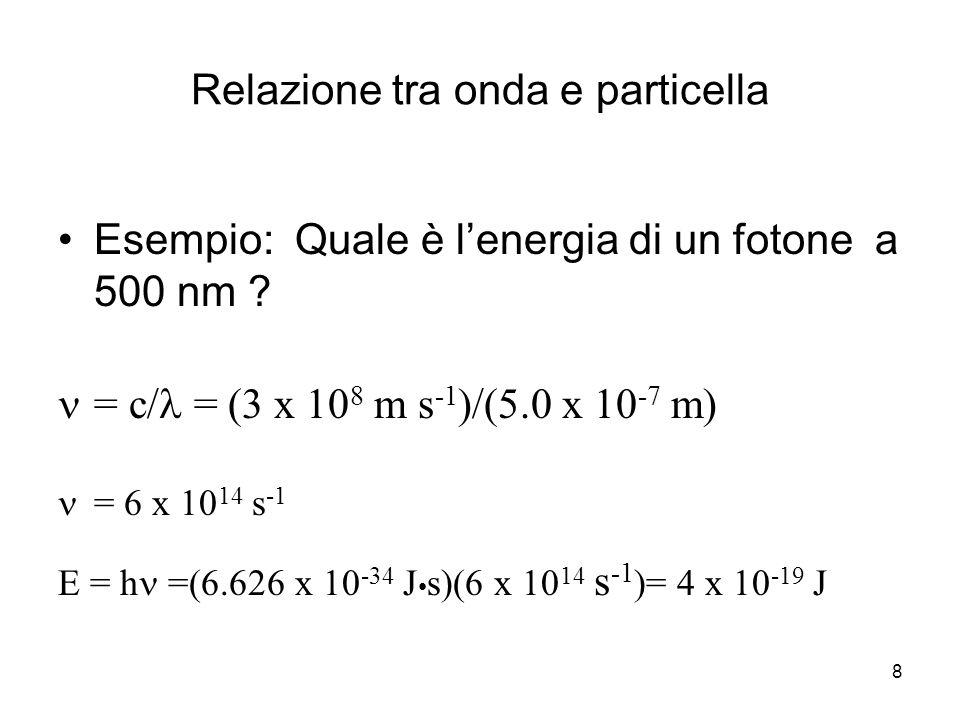 8 Relazione tra onda e particella Esempio: Quale è l'energia di un fotone a 500 nm ? = c/ = (3 x 10 8 m s -1 )/(5.0 x 10 -7 m) = 6 x 10 14 s -1 E = h