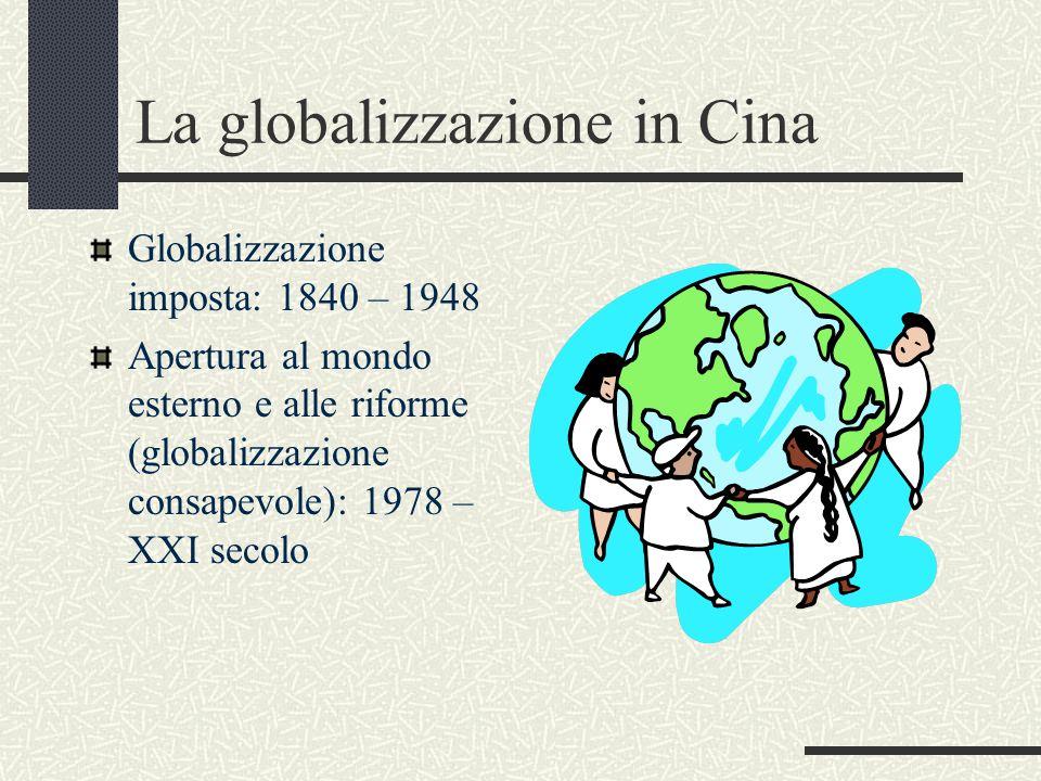 La globalizzazione in Cina Globalizzazione imposta: 1840 – 1948 Apertura al mondo esterno e alle riforme (globalizzazione consapevole): 1978 – XXI secolo