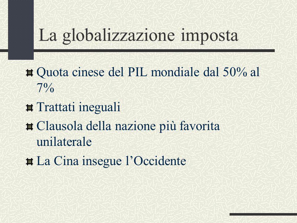 La globalizzazione imposta Quota cinese del PIL mondiale dal 50% al 7% Trattati ineguali Clausola della nazione più favorita unilaterale La Cina insegue l'Occidente