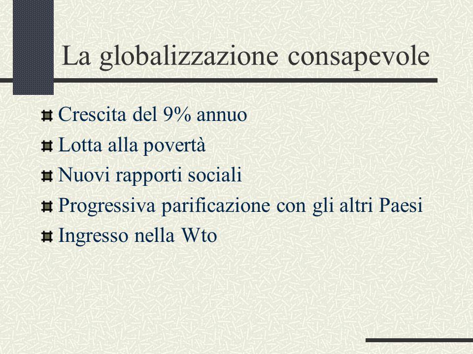 La globalizzazione consapevole Crescita del 9% annuo Lotta alla povertà Nuovi rapporti sociali Progressiva parificazione con gli altri Paesi Ingresso nella Wto