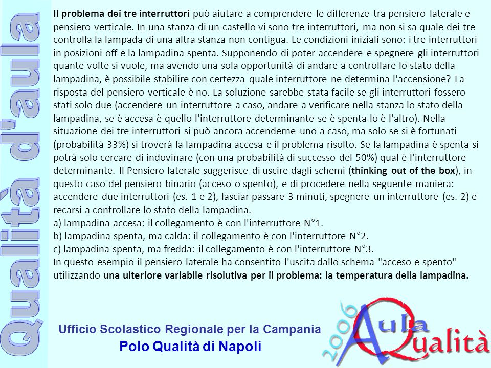 Ufficio Scolastico Regionale per la Campania Polo Qualità di Napoli Il problema dei tre interruttori può aiutare a comprendere le differenze tra pensiero laterale e pensiero verticale.