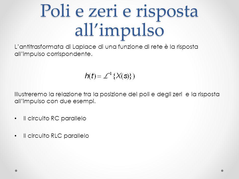 Poli e zeri e risposta all'impulso L'antitrasformata di Laplace di una funzione di rete è la risposta all'impulso corrispondente.