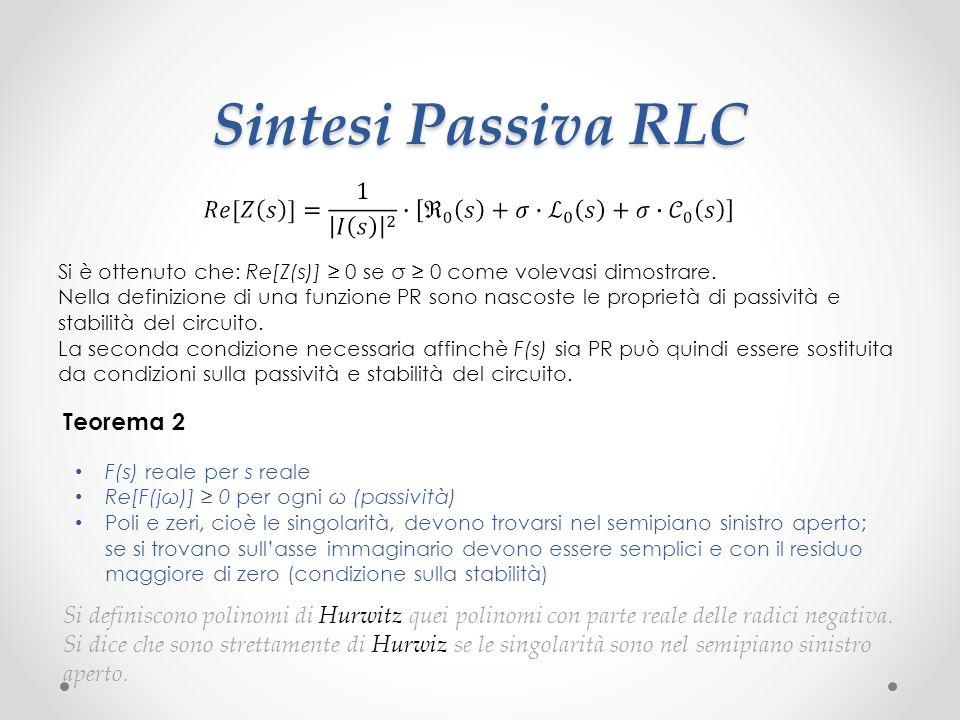Sintesi Passiva RLC Si è ottenuto che: Re[Z(s)] ≥ 0 se σ ≥ 0 come volevasi dimostrare.