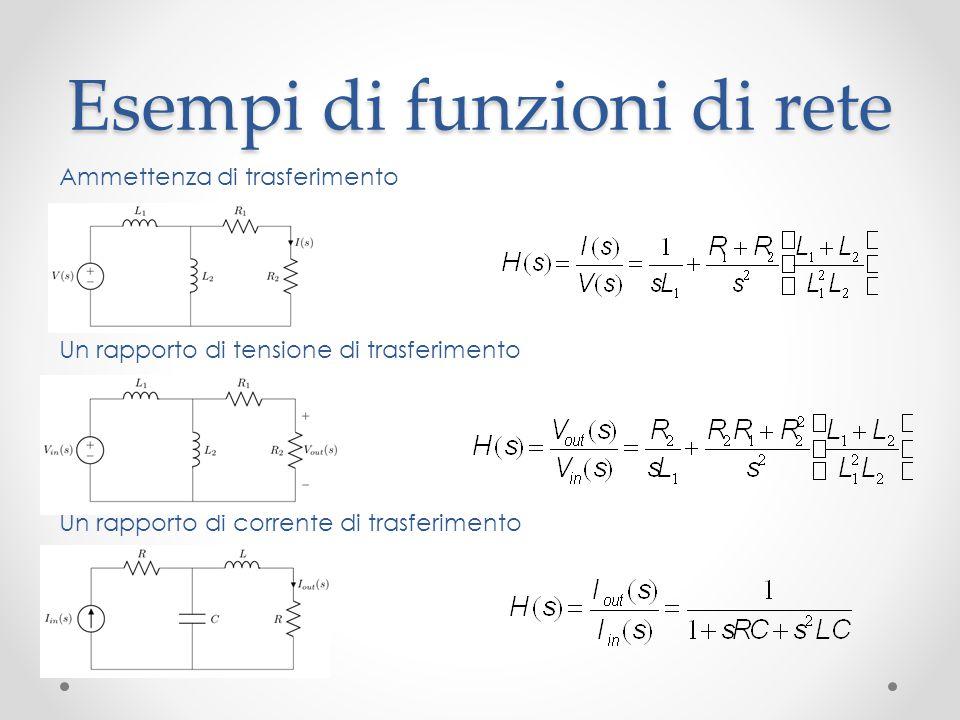 Esempi di funzioni di rete Ammettenza di trasferimento Un rapporto di tensione di trasferimento Un rapporto di corrente di trasferimento