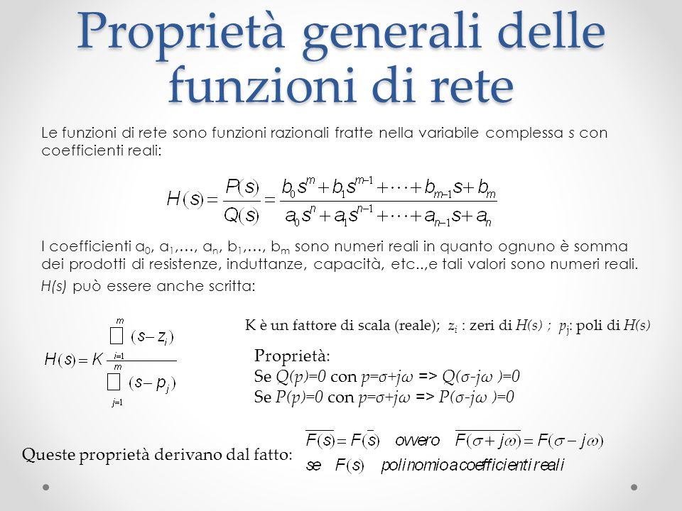 Proprietà generali delle funzioni di rete Le funzioni di rete sono funzioni razionali fratte nella variabile complessa s con coefficienti reali: I coefficienti a 0, a 1,…, a n, b 1,…, b m sono numeri reali in quanto ognuno è somma dei prodotti di resistenze, induttanze, capacità, etc..,e tali valori sono numeri reali.
