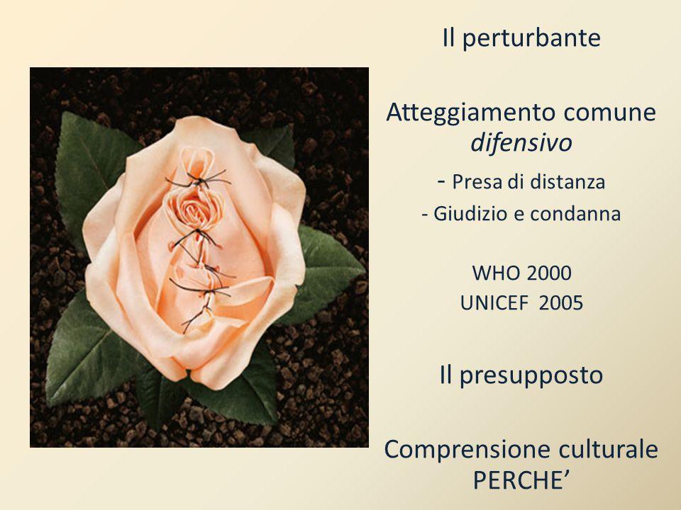 Il perturbante Atteggiamento comune difensivo - Presa di distanza - Giudizio e condanna WHO 2000 UNICEF 2005 Il presupposto Comprensione culturale PERCHE'