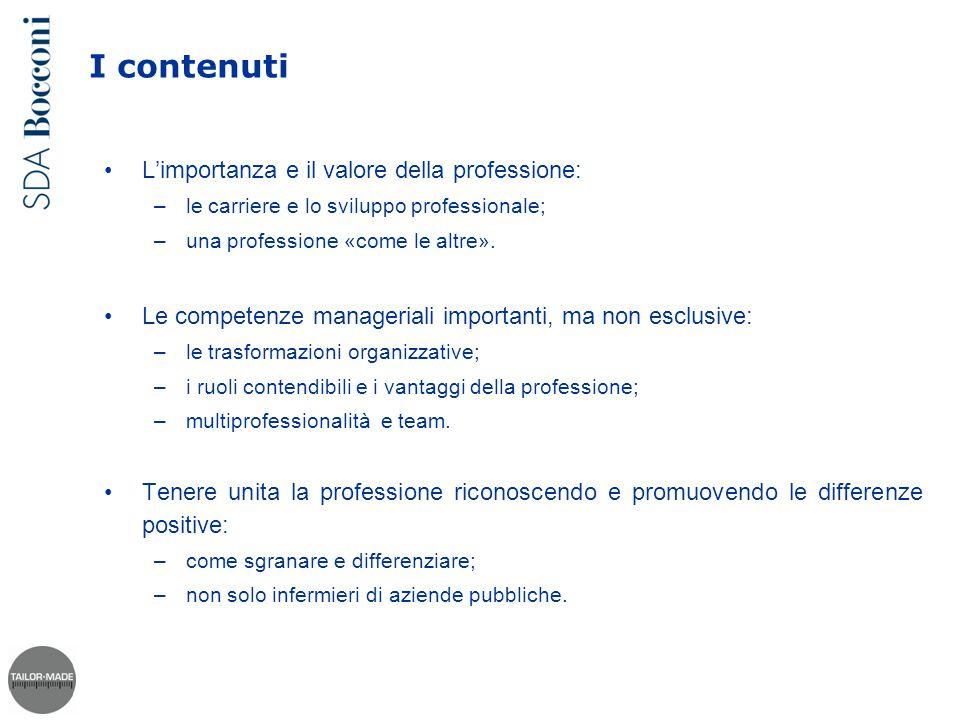 I contenuti L'importanza e il valore della professione: –le carriere e lo sviluppo professionale; –una professione «come le altre». Le competenze mana