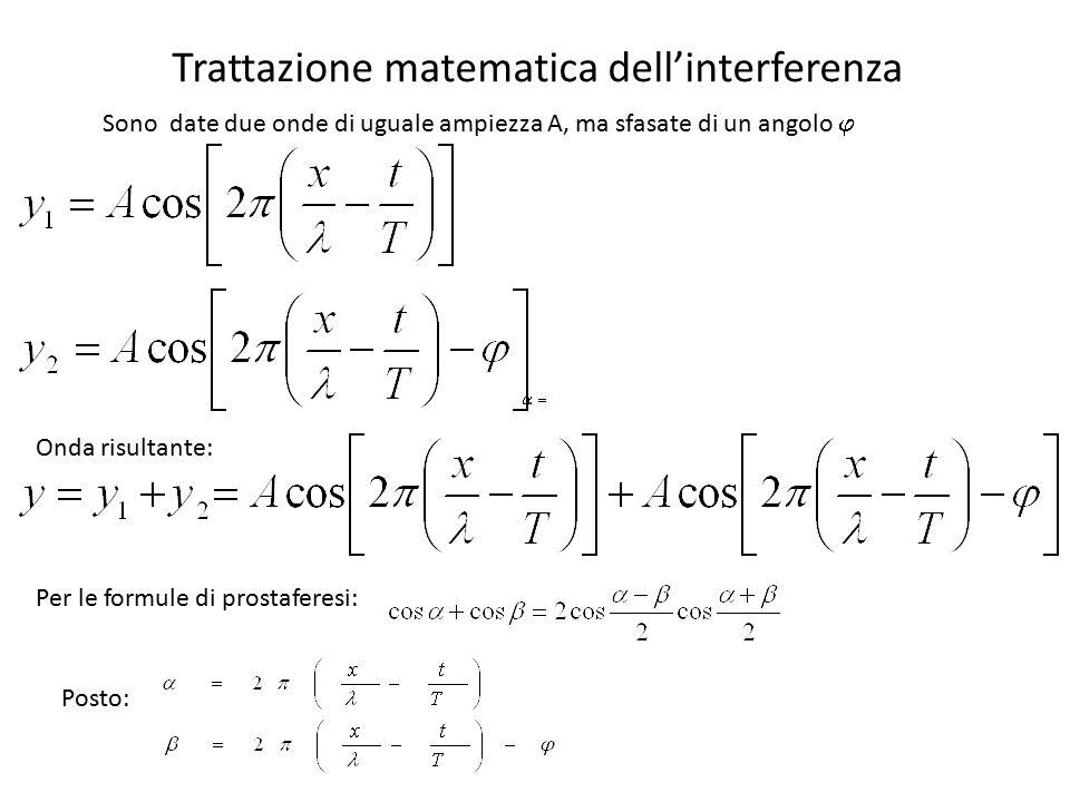 Per le formule di prostaferesi: Interferenza costruttiva Interferenza distruttiva Ampiezza onda risultante se