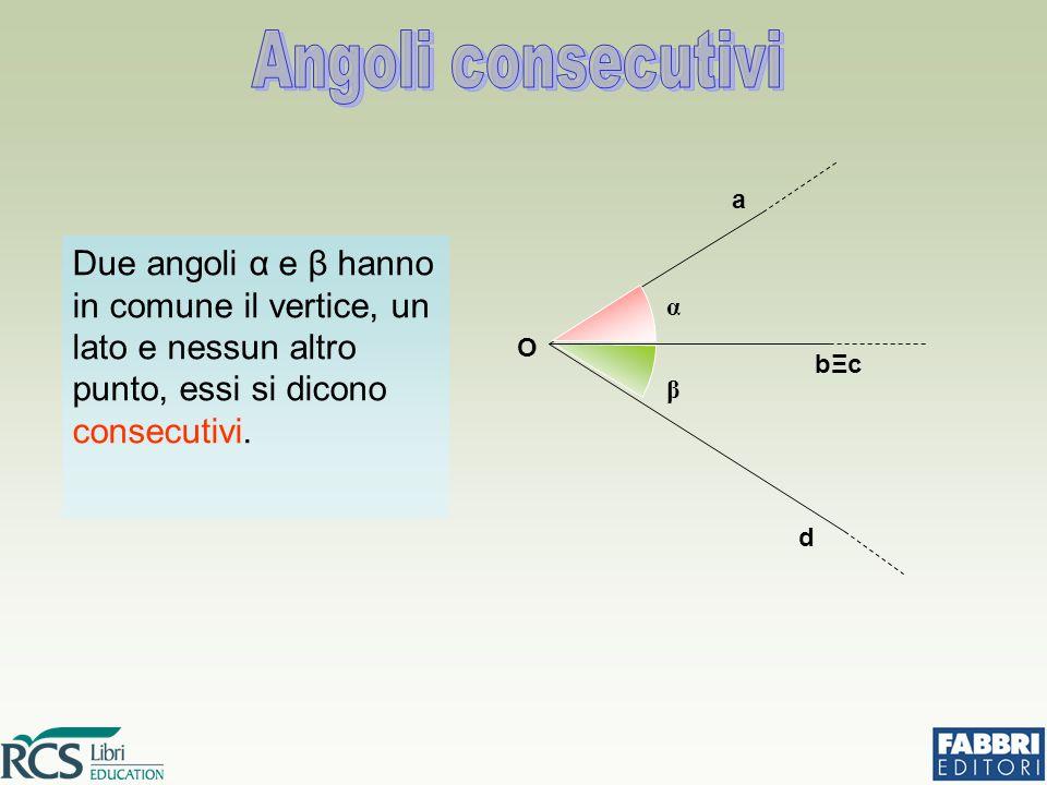 Due angoli α e β hanno in comune il vertice, un lato e nessun altro punto, essi si dicono consecutivi.