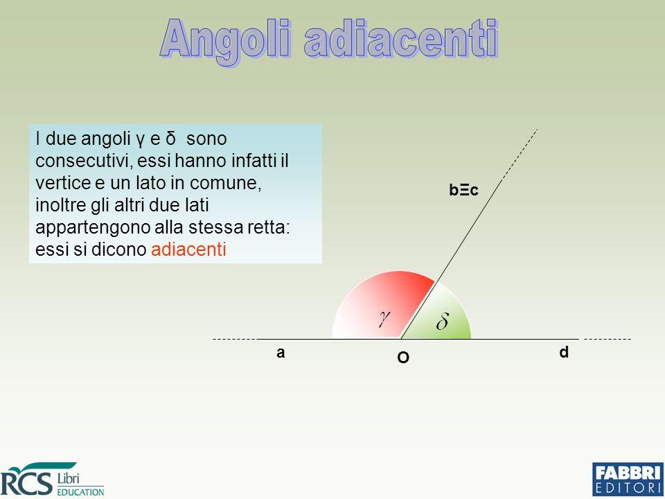I due angoli γ e δ sono consecutivi, essi hanno infatti il vertice e un lato in comune, inoltre gli altri due lati appartengono alla stessa retta: essi si dicono adiacenti O ad bΞcbΞc