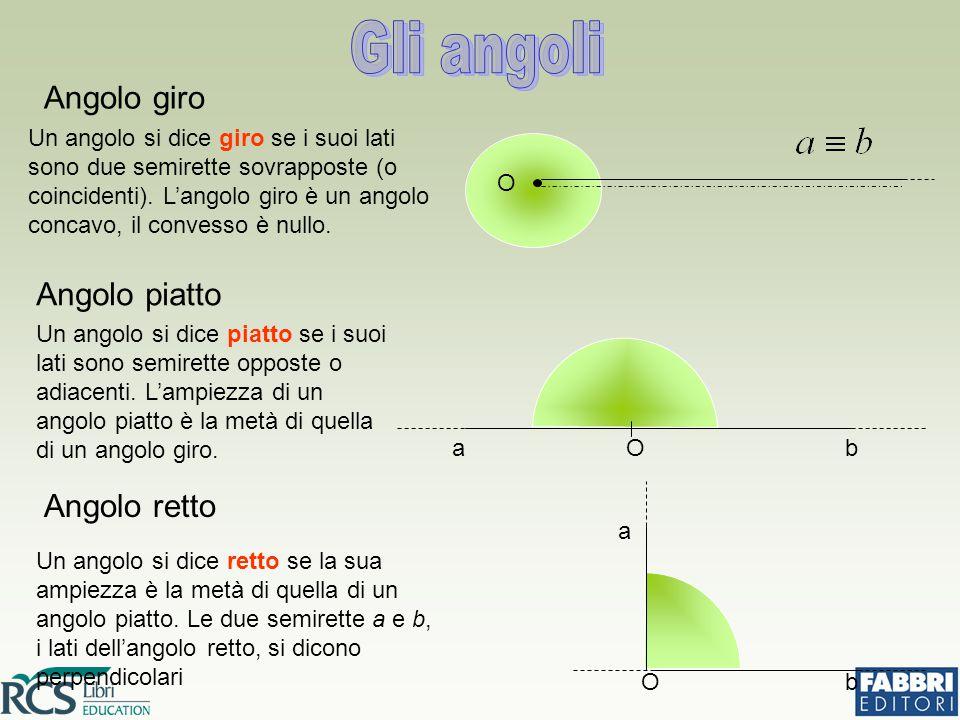 Angolo retto Un angolo si dice retto se la sua ampiezza è la metà di quella di un angolo piatto.