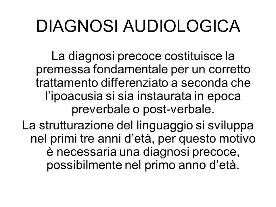 DIAGNOSI AUDIOLOGICA La diagnosi precoce costituisce la premessa fondamentale per un corretto trattamento differenziato a seconda che l'ipoacusia si s