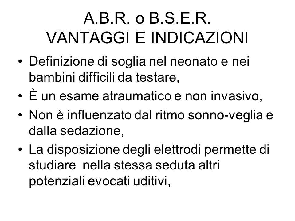 A.B.R. o B.S.E.R. VANTAGGI E INDICAZIONI Definizione di soglia nel neonato e nei bambini difficili da testare, È un esame atraumatico e non invasivo,